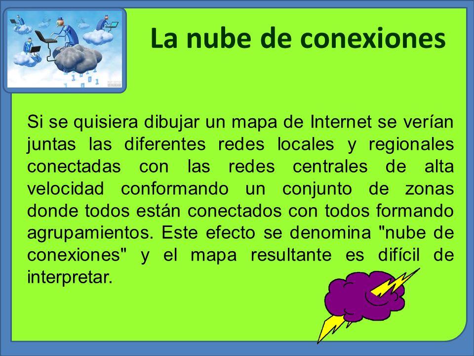 La nube de conexiones Si se quisiera dibujar un mapa de Internet se verían juntas las diferentes redes locales y regionales conectadas con las redes c