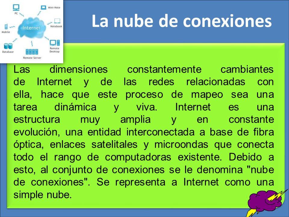 La nube de conexiones Las dimensiones constantemente cambiantes de Internet y de las redes relacionadas con ella, hace que este proceso de mapeo sea u