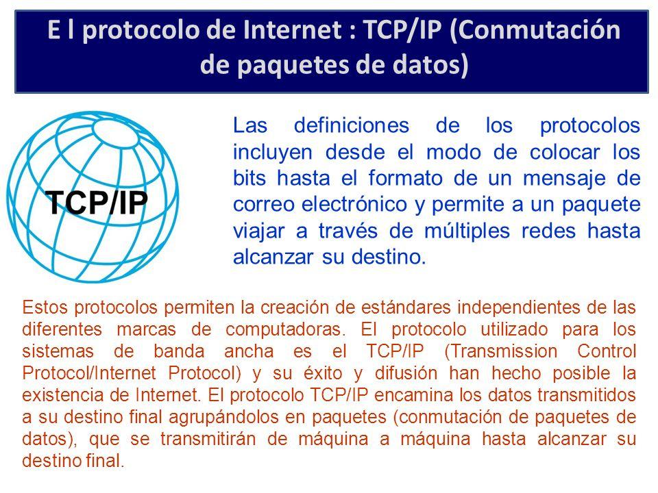 E l protocolo de Internet : TCP/IP (Conmutación de paquetes de datos) Las definiciones de los protocolos incluyen desde el modo de colocar los bits ha