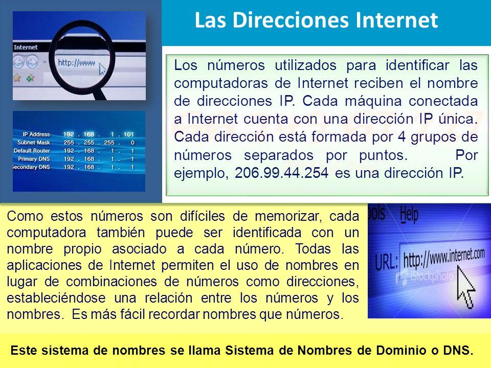 Los números utilizados para identificar las computadoras de Internet reciben el nombre de direcciones IP. Cada máquina conectada a Internet cuenta con