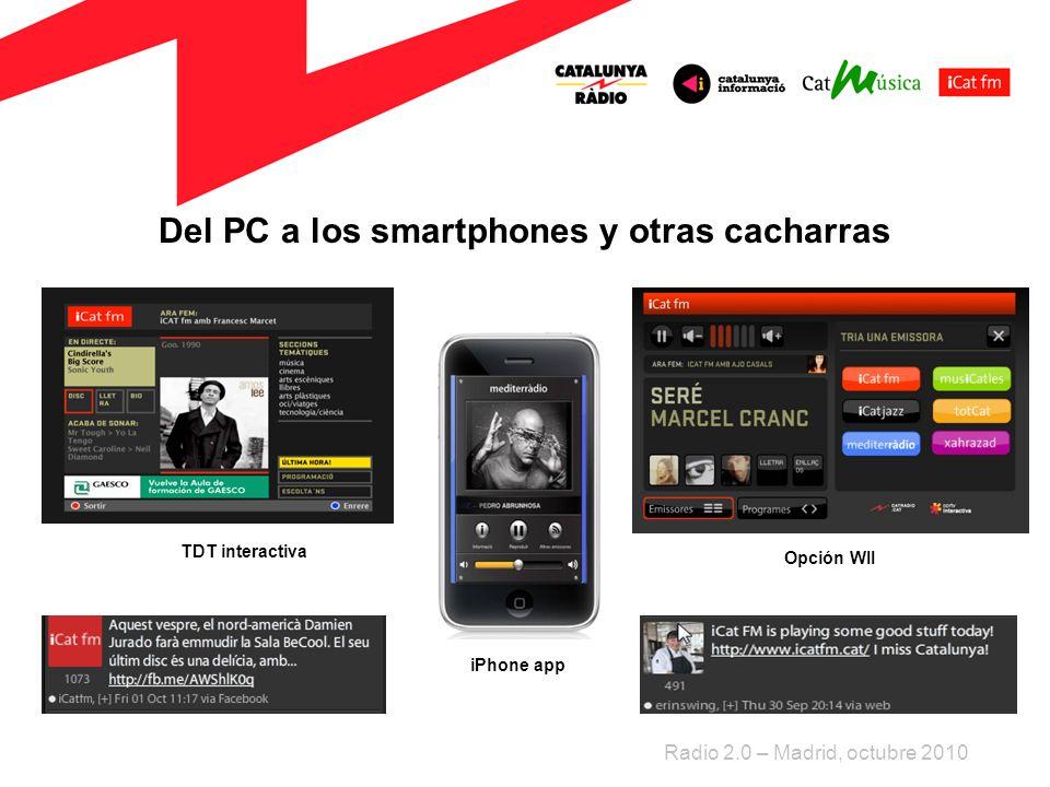 Del PC a los smartphones y otras cacharras Radio 2.0 – Madrid, octubre 2010 TDT interactiva iPhone app Opción WII