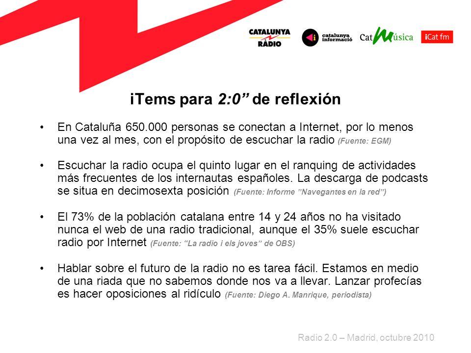 iTems para 2:0 de reflexión En Cataluña 650.000 personas se conectan a Internet, por lo menos una vez al mes, con el propósito de escuchar la radio (Fuente: EGM) Escuchar la radio ocupa el quinto lugar en el ranquing de actividades más frecuentes de los internautas españoles.