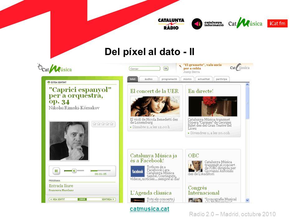 Del píxel al dato - II Radio 2.0 – Madrid, octubre 2010 catmusica.cat