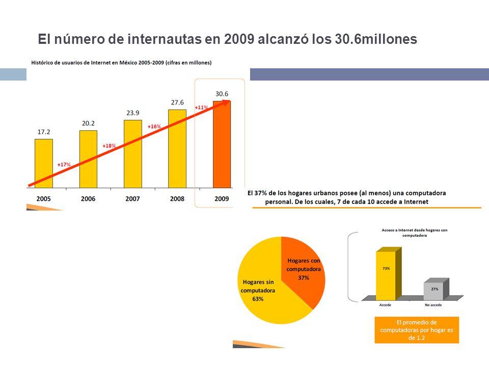 El número de internautas en 2009 alcanzó los 30.6millones
