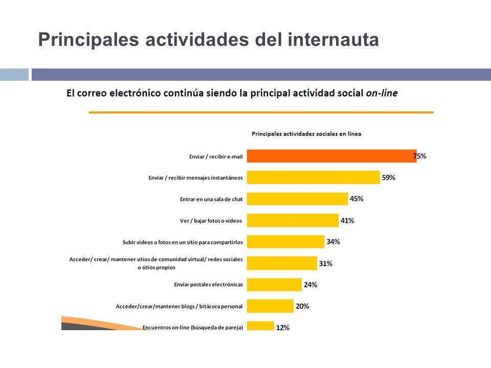 Principales actividades del internauta