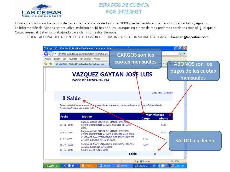 CARGOS son las cuotas mensuales ABONOS son los pagos de las cuotas mensuales SALDO a la fecha El sistema inició con los saldos de cada cuenta al cierre de Junio del 2009 y se ha venido actualizando durante Julio y Agosto.