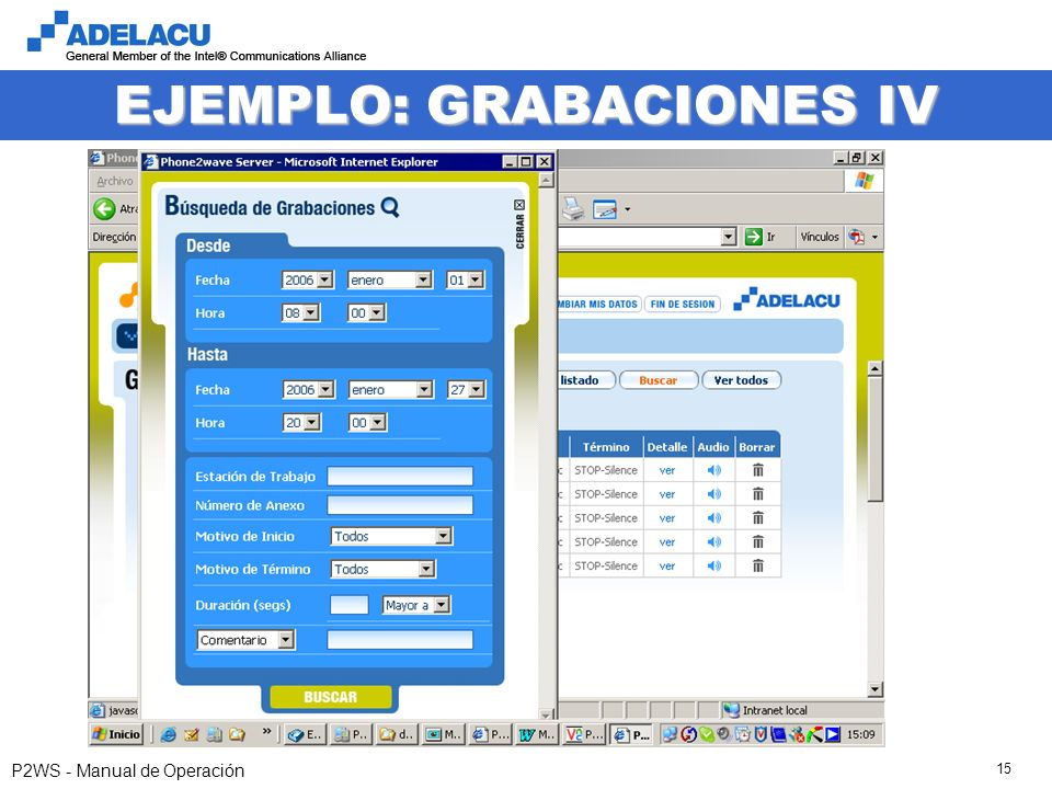www.adelacu.com P2WS - Manual de Operación 15 EJEMPLO: GRABACIONES IV