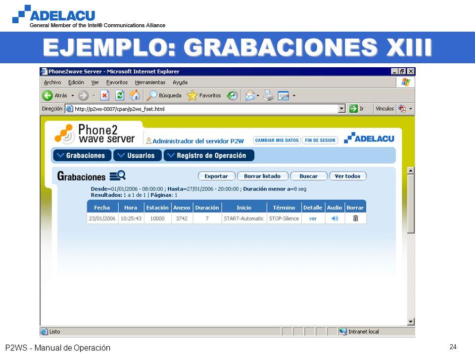 www.adelacu.com P2WS - Manual de Operación 24 EJEMPLO: GRABACIONES XIII