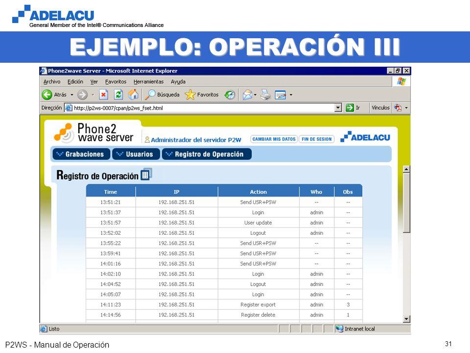 www.adelacu.com P2WS - Manual de Operación 31 EJEMPLO: OPERACIÓN III