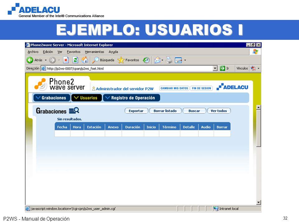 www.adelacu.com P2WS - Manual de Operación 32 EJEMPLO: USUARIOS I