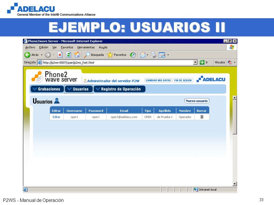 www.adelacu.com P2WS - Manual de Operación 33 EJEMPLO: USUARIOS II