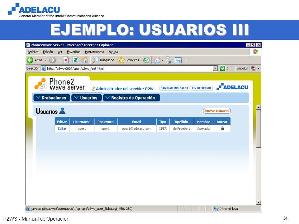 www.adelacu.com P2WS - Manual de Operación 34 EJEMPLO: USUARIOS III