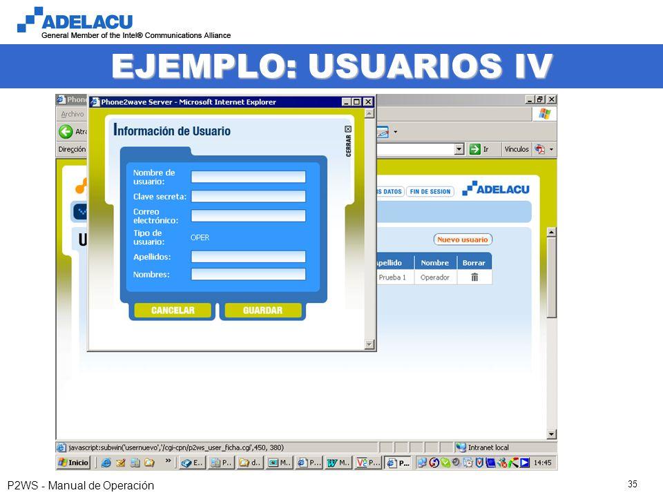 www.adelacu.com P2WS - Manual de Operación 35 EJEMPLO: USUARIOS IV