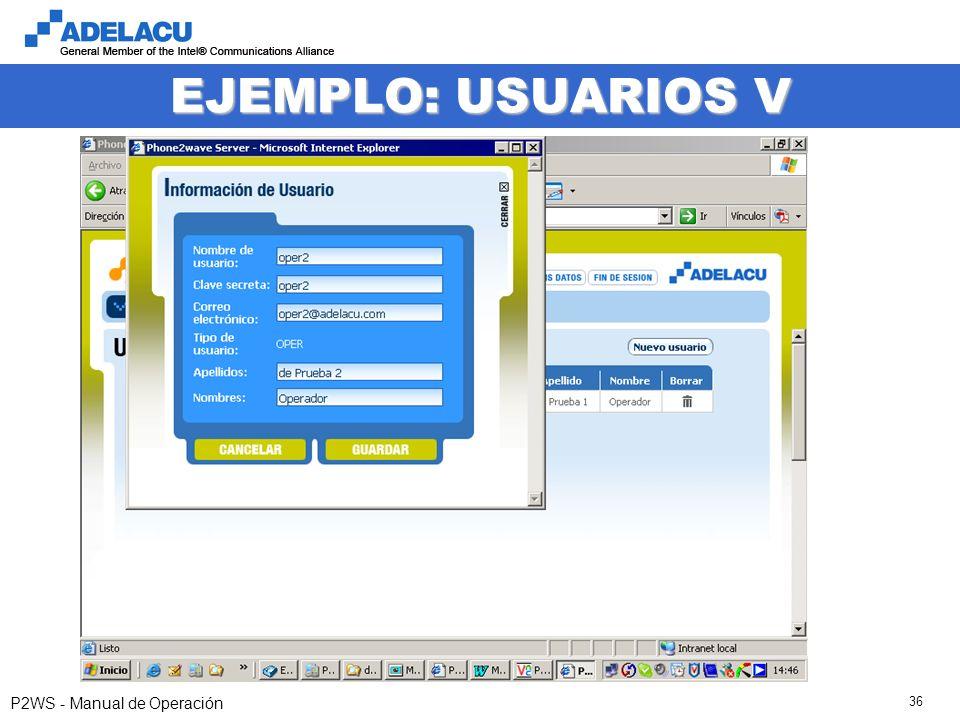 www.adelacu.com P2WS - Manual de Operación 36 EJEMPLO: USUARIOS V