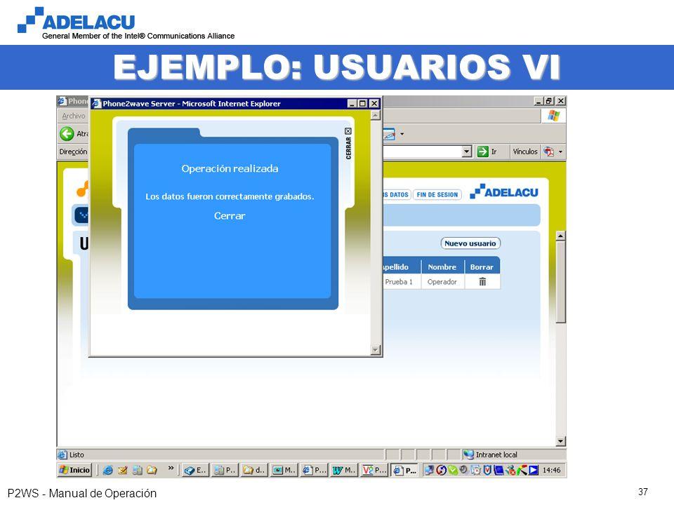 www.adelacu.com P2WS - Manual de Operación 37 EJEMPLO: USUARIOS VI