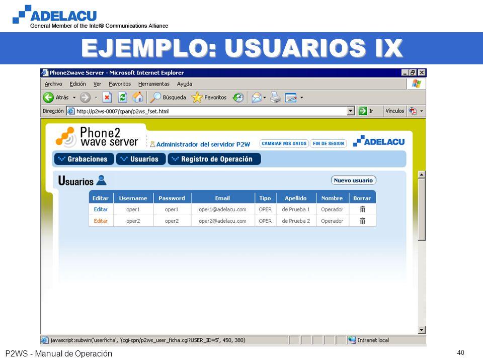 www.adelacu.com P2WS - Manual de Operación 40 EJEMPLO: USUARIOS IX