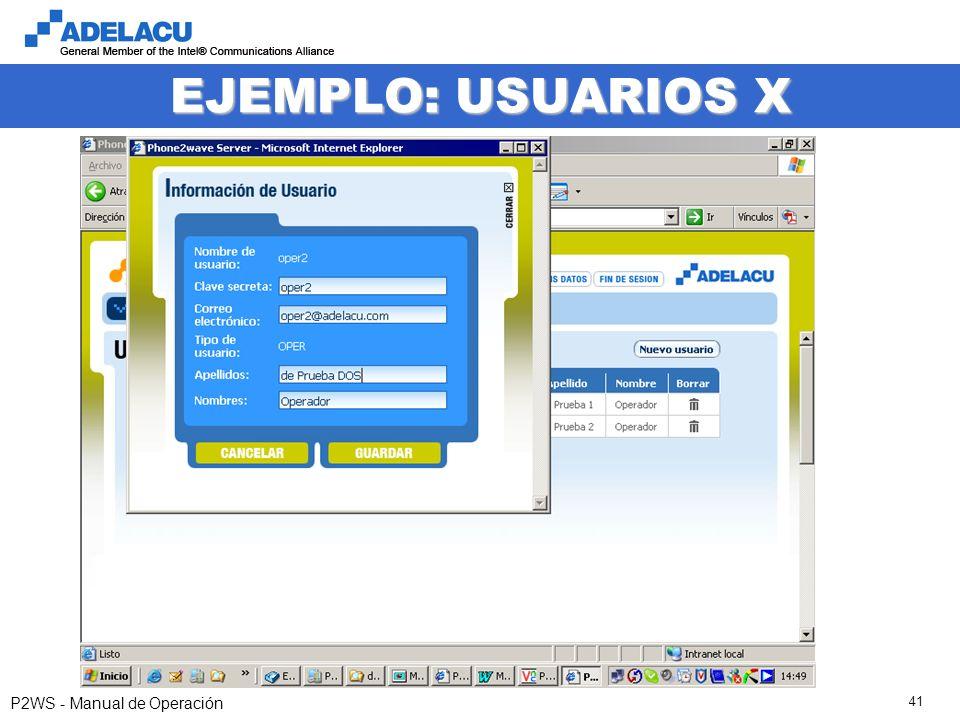 www.adelacu.com P2WS - Manual de Operación 41 EJEMPLO: USUARIOS X