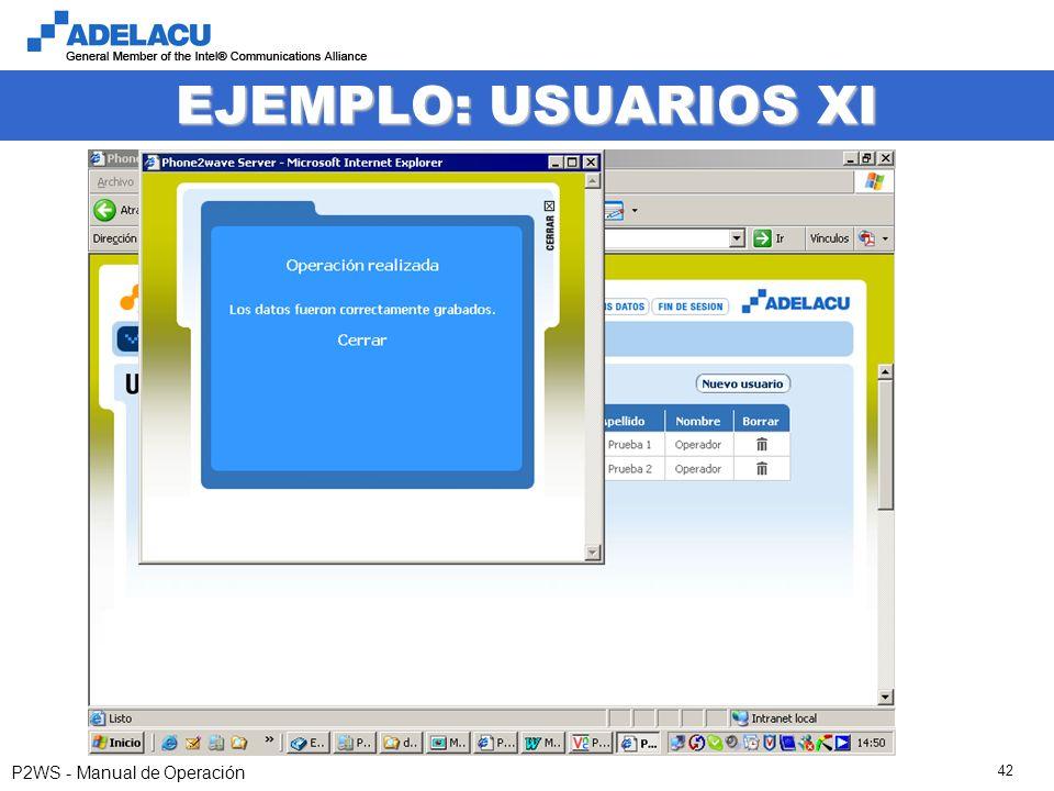 www.adelacu.com P2WS - Manual de Operación 42 EJEMPLO: USUARIOS XI