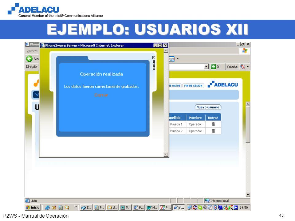 www.adelacu.com P2WS - Manual de Operación 43 EJEMPLO: USUARIOS XII