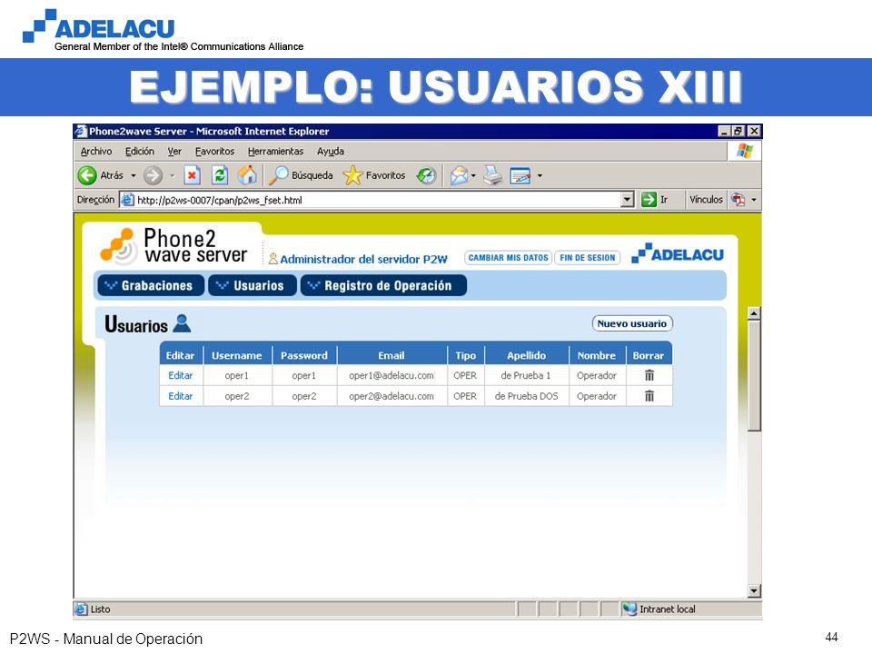 www.adelacu.com P2WS - Manual de Operación 44 EJEMPLO: USUARIOS XIII