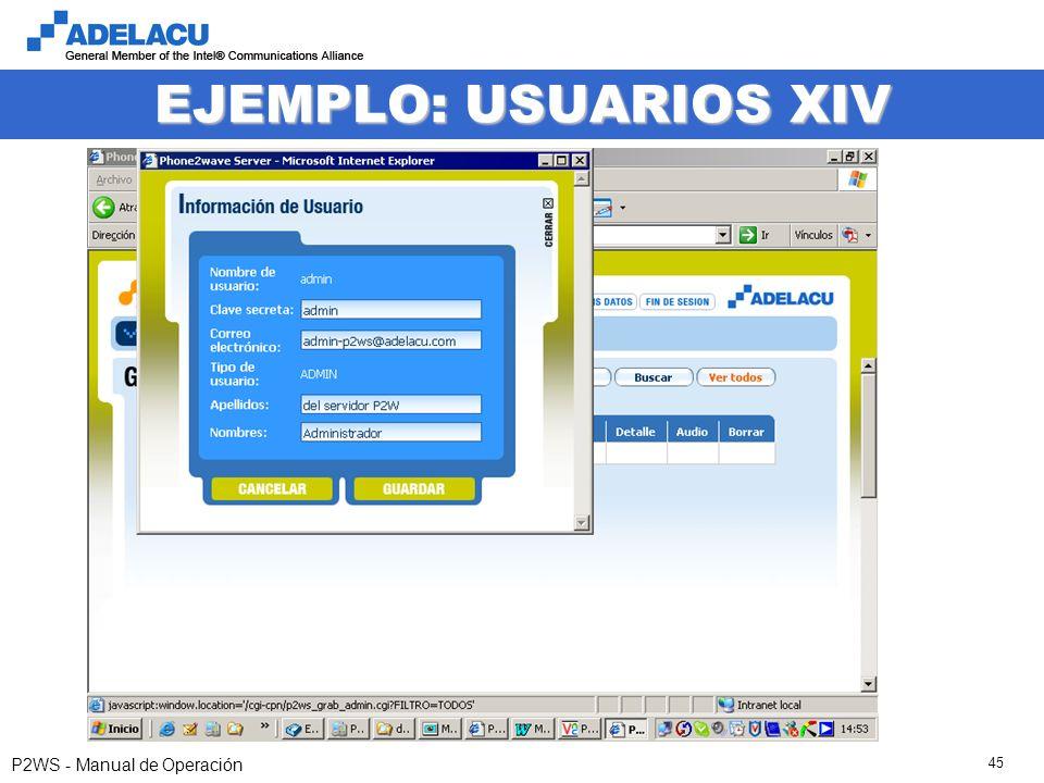 www.adelacu.com P2WS - Manual de Operación 45 EJEMPLO: USUARIOS XIV