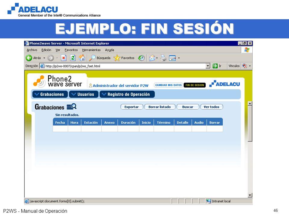 www.adelacu.com P2WS - Manual de Operación 46 EJEMPLO: FIN SESIÓN