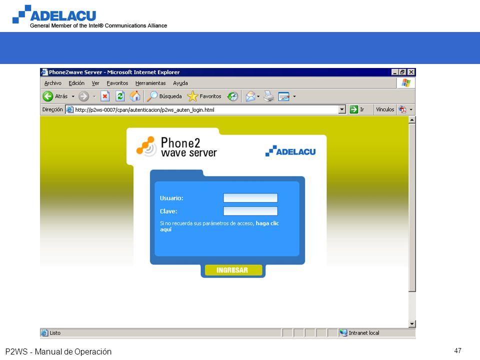 www.adelacu.com P2WS - Manual de Operación 47