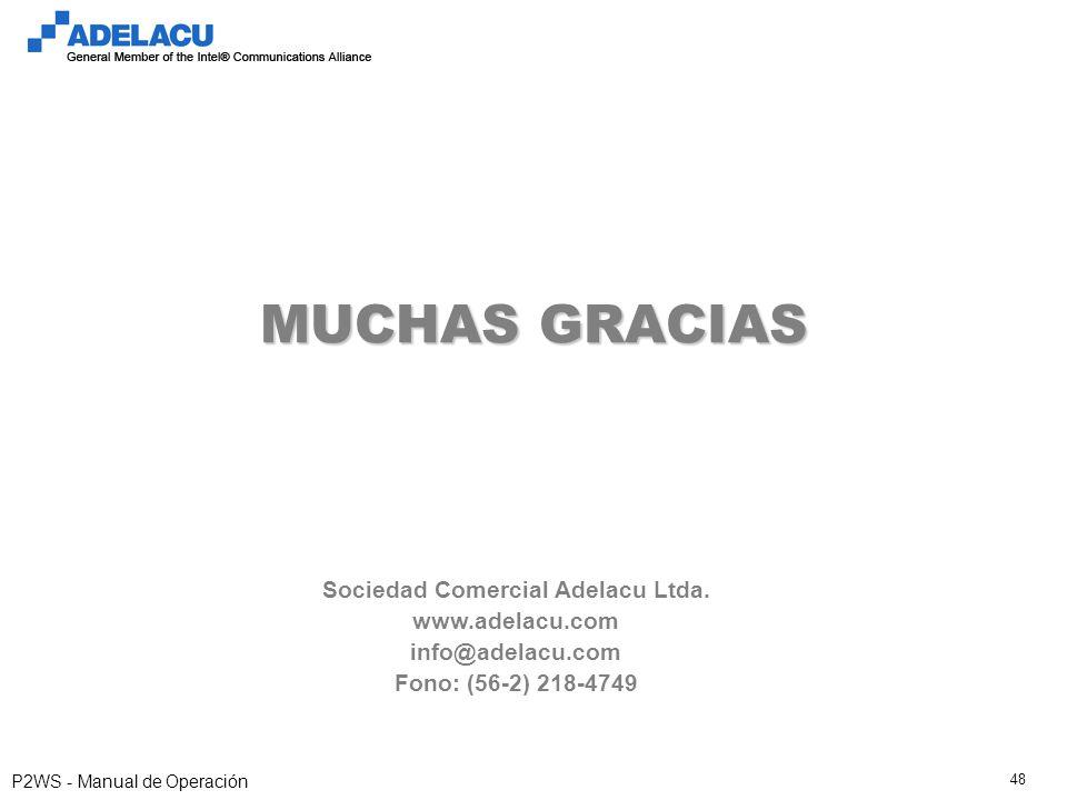 www.adelacu.com P2WS - Manual de Operación 48 MUCHAS GRACIAS Sociedad Comercial Adelacu Ltda. www.adelacu.com info@adelacu.com Fono: (56-2) 218-4749