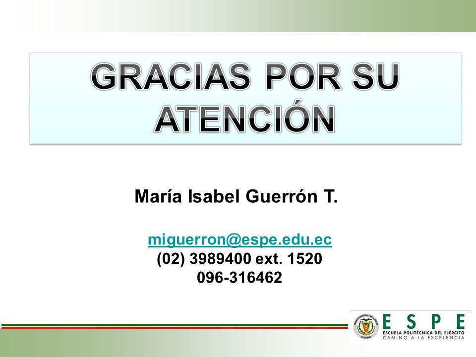María Isabel Guerrón T. miguerron@espe.edu.ec (02) 3989400 ext. 1520 096-316462