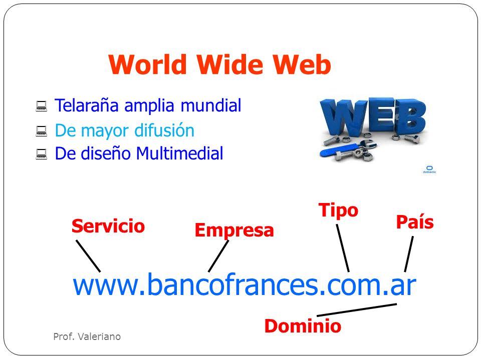 World Wide Web : Telaraña amplia mundial : De mayor difusión : De diseño Multimedial www.bancofrances.com.ar Servicio Empresa Tipo País Dominio Prof.