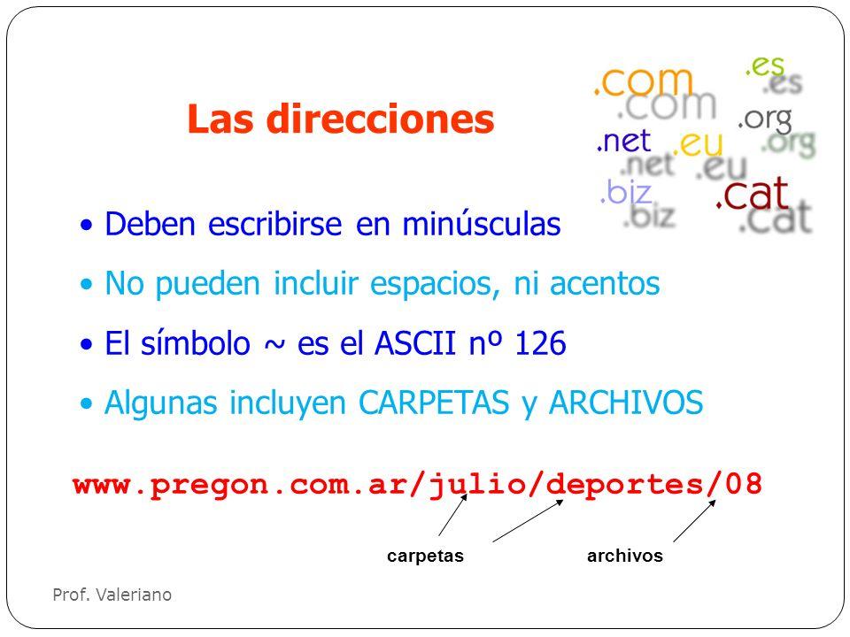 Deben escribirse en minúsculas No pueden incluir espacios, ni acentos El símbolo ~ es el ASCII nº 126 Algunas incluyen CARPETAS y ARCHIVOS Las direcci