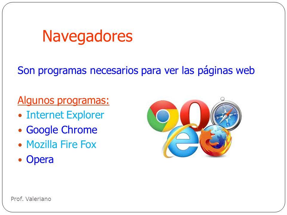 Navegadores Son programas necesarios para ver las páginas web Algunos programas: Internet Explorer Google Chrome Mozilla Fire Fox Opera Prof. Valerian