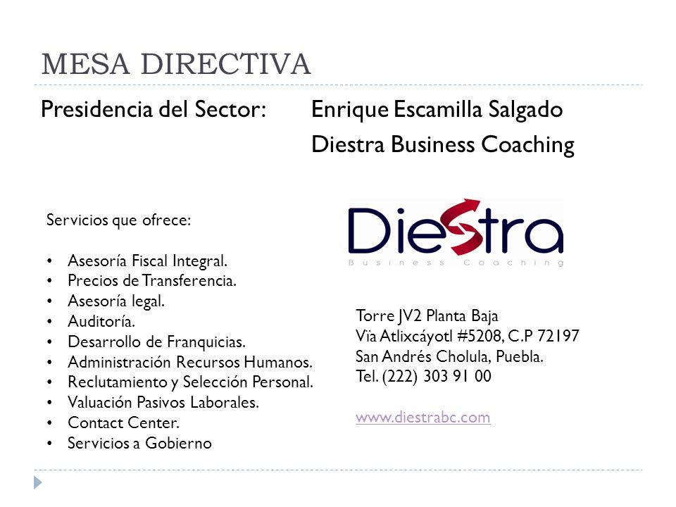 MESA DIRECTIVA Presidencia del Sector: Enrique Escamilla Salgado Diestra Business Coaching Servicios que ofrece: Asesoría Fiscal Integral. Precios de