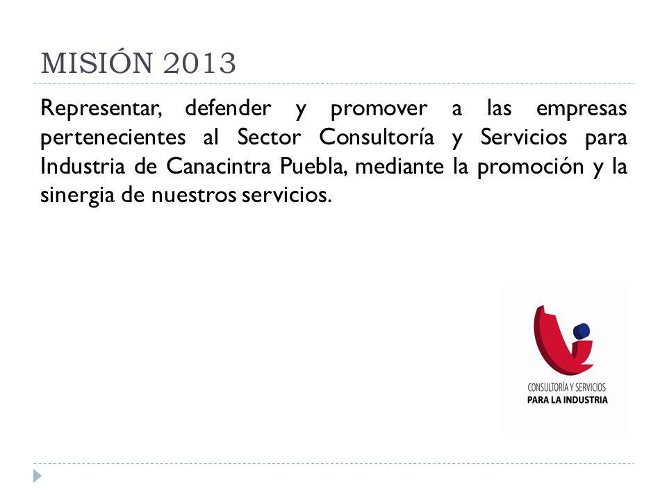 MISIÓN 2013 Representar, defender y promover a las empresas pertenecientes al Sector Consultoría y Servicios para Industria de Canacintra Puebla, medi