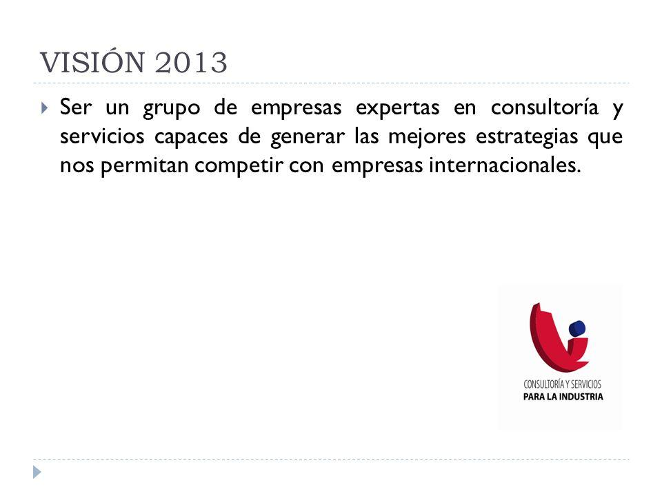VISIÓN 2013 Ser un grupo de empresas expertas en consultoría y servicios capaces de generar las mejores estrategias que nos permitan competir con empr