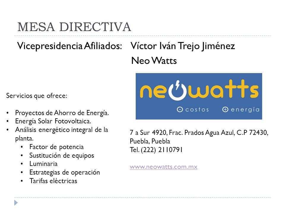 MESA DIRECTIVA Vicepresidencia Afiliados: Víctor Iván Trejo Jiménez Neo Watts 7 a Sur 4920, Frac. Prados Agua Azul, C.P 72430, Puebla, Puebla Tel. (22