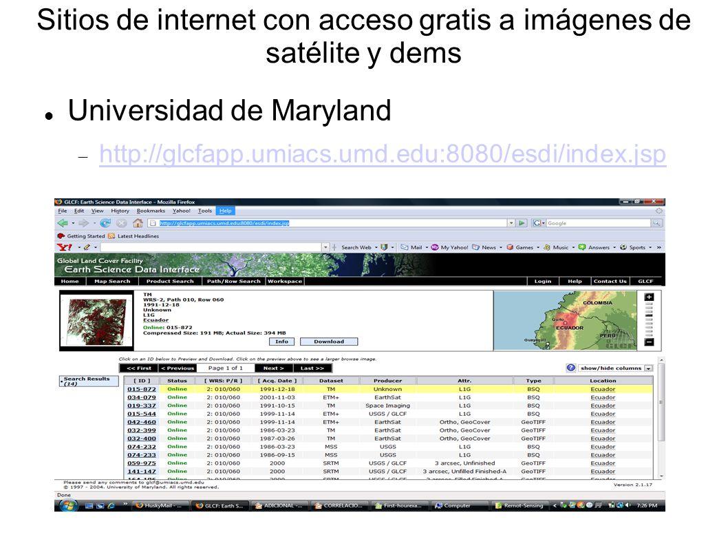 Sitios de internet con acceso gratis a imágenes de satélite y dems Universidad de Maryland http://glcfapp.umiacs.umd.edu:8080/esdi/index.jsp