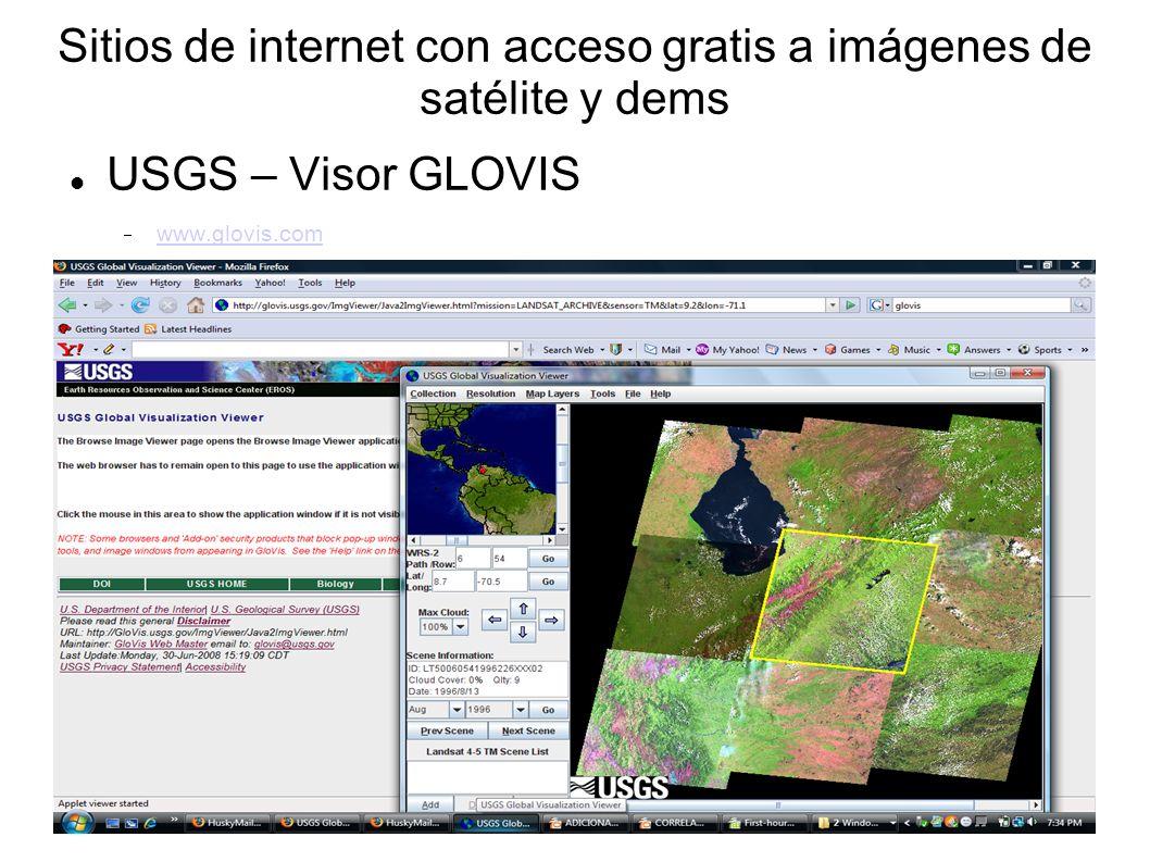 Sitios de internet con acceso gratis a imágenes de satélite y dems USGS – Visor GLOVIS www.glovis.com