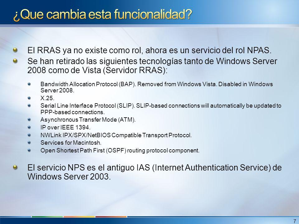 El RRAS ya no existe como rol, ahora es un servicio del rol NPAS. Se han retirado las siguientes tecnologías tanto de Windows Server 2008 como de Vist