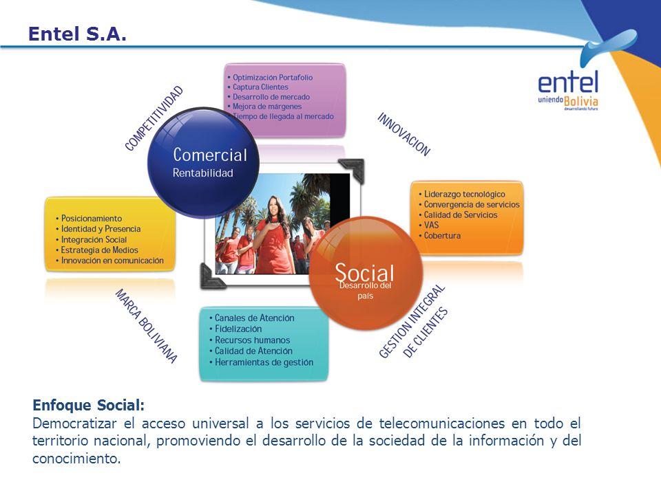 Entel S.A. Enfoque Social: Democratizar el acceso universal a los servicios de telecomunicaciones en todo el territorio nacional, promoviendo el desar