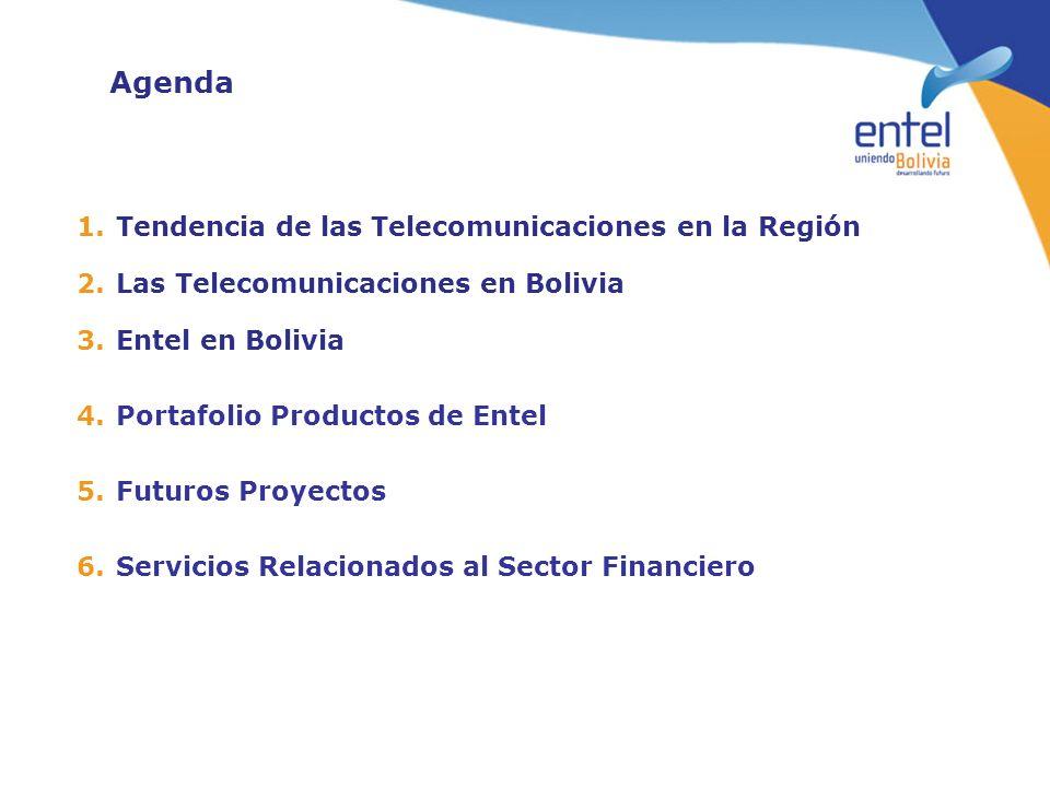 Agenda 1.Tendencia de las Telecomunicaciones en la Región 2.Las Telecomunicaciones en Bolivia 3.Entel en Bolivia 4.Portafolio Productos de Entel 5.Fut