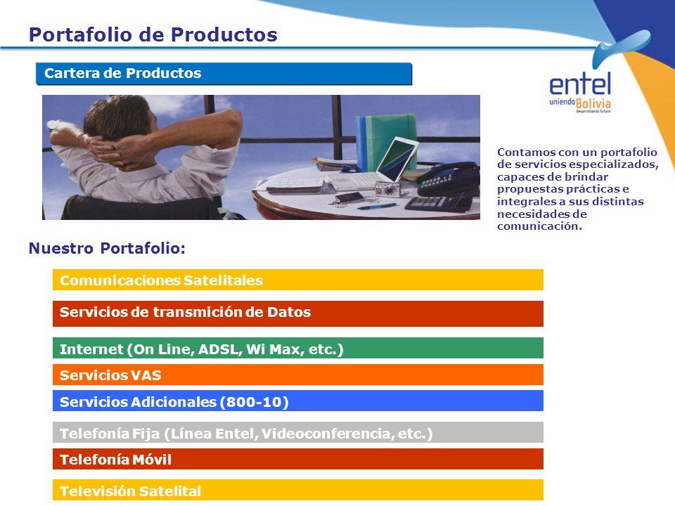 Cartera de Productos Nuestro Portafolio: Comunicaciones Satelitales Servicios de transmición de Datos Internet (On Line, ADSL, Wi Max, etc.) Servicios