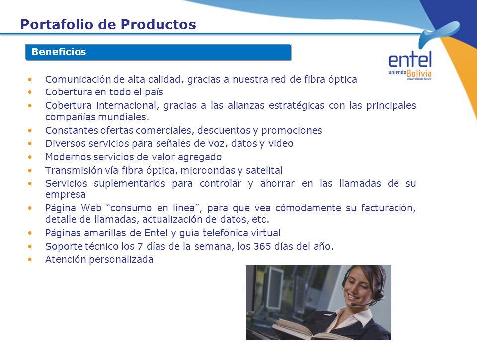 Portafolio de Productos Beneficios Comunicación de alta calidad, gracias a nuestra red de fibra óptica Cobertura en todo el país Cobertura internacion