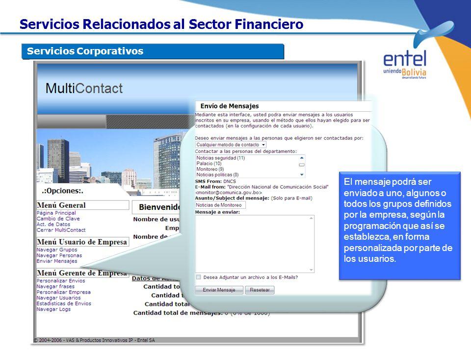 Servicios Corporativos El mensaje podrá ser enviado a uno, algunos o todos los grupos definidos por la empresa, según la programación que así se estab