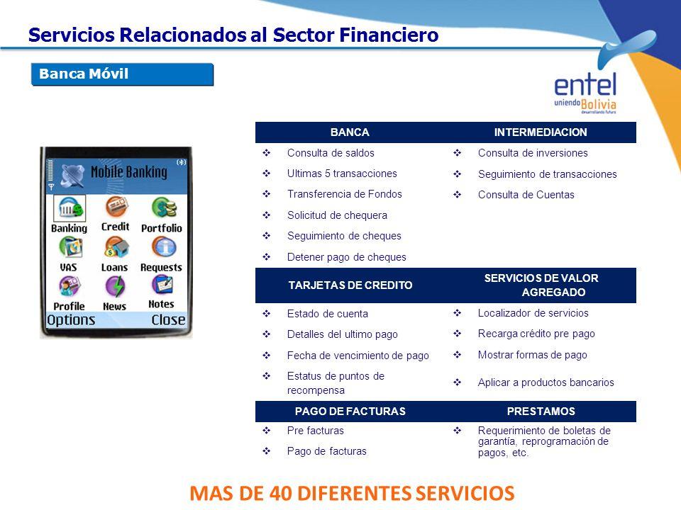 MAS DE 40 DIFERENTES SERVICIOS BANCAINTERMEDIACION Consulta de saldos Consulta de inversiones Ultimas 5 transacciones Seguimiento de transacciones Tra