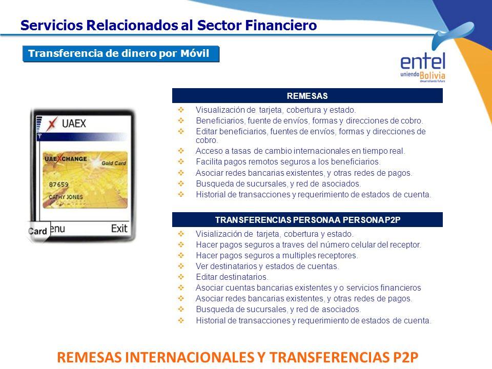 REMESAS INTERNACIONALES Y TRANSFERENCIAS P2P REMESAS Visualización de tarjeta, cobertura y estado. Beneficiarios, fuente de envíos, formas y direccion