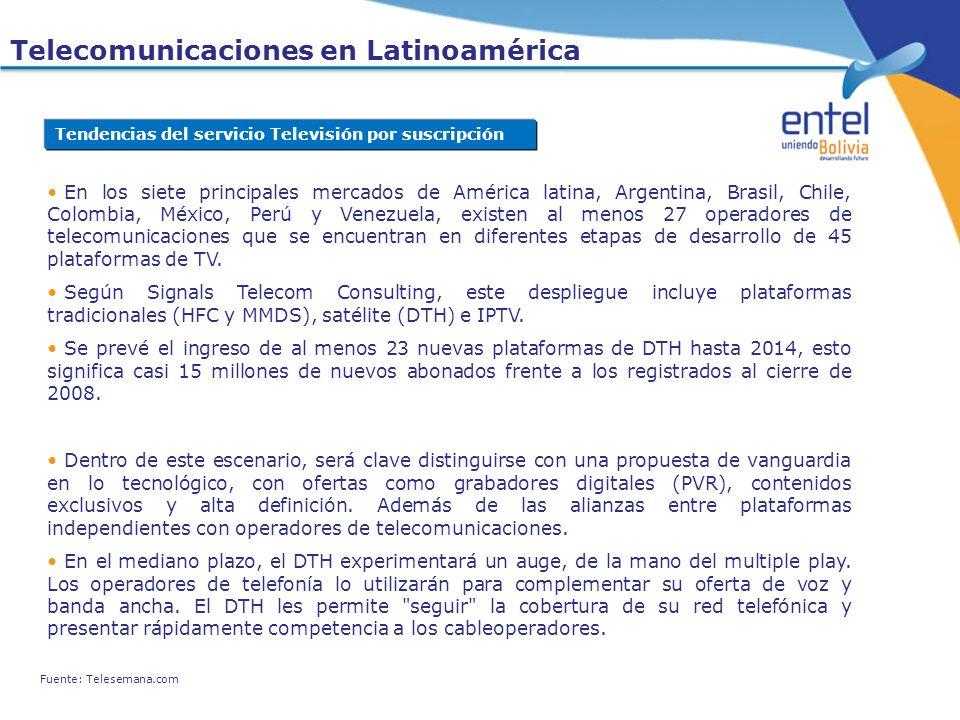 En los siete principales mercados de América latina, Argentina, Brasil, Chile, Colombia, México, Perú y Venezuela, existen al menos 27 operadores de t