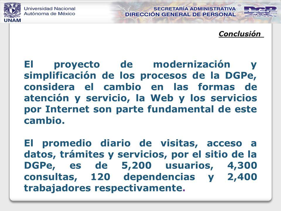 Conclusión El proyecto de modernización y simplificación de los procesos de la DGPe, considera el cambio en las formas de atención y servicio, la Web y los servicios por Internet son parte fundamental de este cambio.