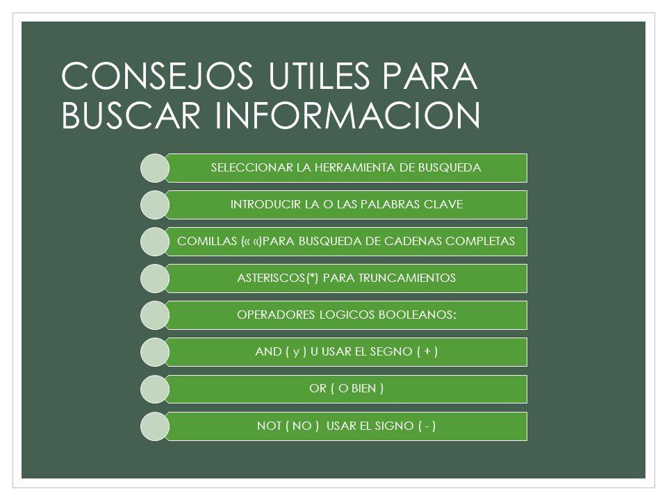 CONSEJOS UTILES PARA BUSCAR INFORMACION SELECCIONAR LA HERRAMIENTA DE BUSQUEDA INTRODUCIR LA O LAS PALABRAS CLAVE COMILLAS (« «)PARA BUSQUEDA DE CADEN
