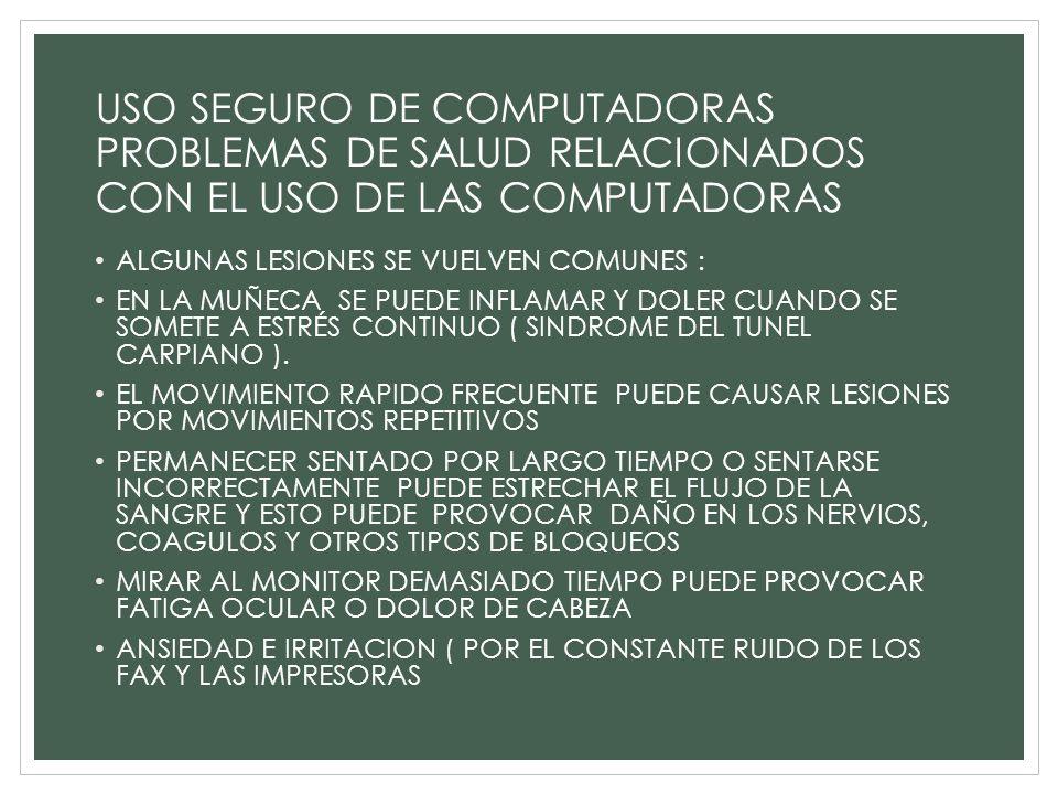 USO SEGURO DE COMPUTADORAS PROBLEMAS DE SALUD RELACIONADOS CON EL USO DE LAS COMPUTADORAS ALGUNAS LESIONES SE VUELVEN COMUNES : EN LA MUÑECA SE PUEDE